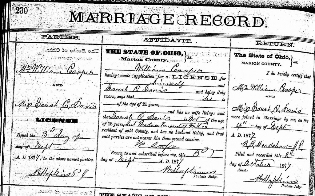 William Cooper Marriage
