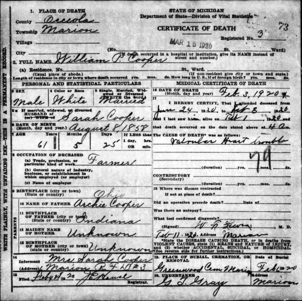 William Cooper Death Certificate
